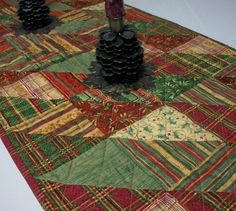 fall quilt table runner patterns plaid | Christmas Table Runner Triangles Plaids Red by atthebrightspot, $48.00