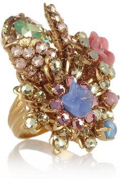 Bijoux Heart | Sucre gold-plated, Swarovski crystal and glass ring | NET-A-PORTER.COM