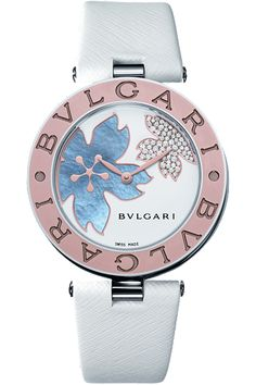 """BVLGARI Bvlgari B Zero1 Ladies Wristwatch (The """"Bvlgari Bvlgari"""" name comes from the double use of the brand on the bezel.) (BZ35BDSGL) featuring a Swiss-made quartz movement; white dial with mother-of-pearl & diamond-set flower motifs; and 35mm, stainles"""