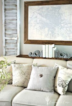 Adding Faux Painted Shutters & French Rustic Touches Behind the Couch