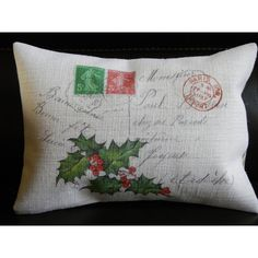 French Holly Burlap Pillow Christmas Insert Included (€22) ❤ liked on Polyvore featuring home, home decor, throw pillows, decorative pillows, grey, home & living, home décor, apple home decor, gray throw pillows and burlap home decor