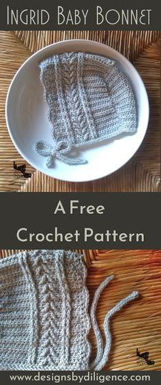 Crochet Baby Bonnet, Crochet Bebe, Crochet Baby Clothes, Crochet For Kids, Free Crochet, Newborn Crochet, Baby Bonnet Pattern Free, Free Pattern, Baby Patterns