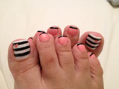 Pink Black and Striped Nails, came out pretty nice!