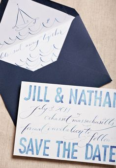 cute for seaside wedding. like the coloring. Blue-Watercolor-Calligraphy-Wedding-Save-the-Dates#Repin By:Pinterest++ for iPad#