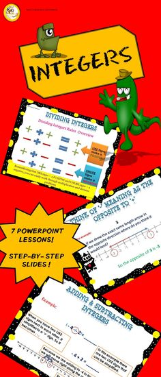 7 lessons and a class quiz to teach integers to your class! NOW WITH 5 WORKSHEETS TOO!