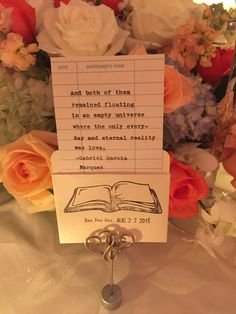 Literary Wedding or Party Table Decor : Custom Quote Cards in Book Pockets - price is PER SET by PaperElation on Etsy https://www.etsy.com/listing/249543441/literary-wedding-or-party-table-decor