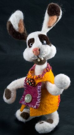 Needle felted rabbit, Kate Barsotti, Pencil and Sheep
