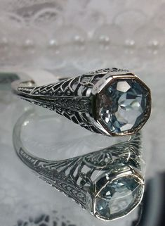 Natural Sky Blue Topaz Sterling Silver Edwardian Wedding Filigree Ring Size 10
