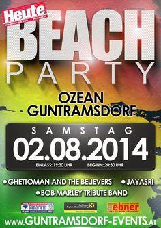 die Beach Party am Ozean in Guntdramsdorf! Beach Party, Bob Marley, Fandom, Ocean