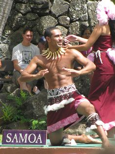 Samoan dancer at the Polynesian Cultural Center in Leiae, Oahu, HI