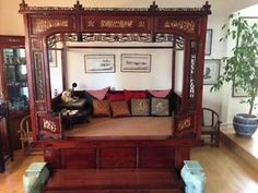 Chinese Bed Living Room Day Real Solid Wood