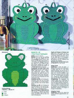 Interesting ideas for decor: Прихватка - лягушка. Crochet Applique Patterns Free, Baby Boy Knitting Patterns, Crochet Motifs, Crochet Potholders, Crochet Kitchen, Crochet Home, Plastic Canvas Crafts, Plastic Canvas Patterns, Crochet Frog