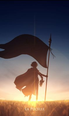 480x800 wallpaper Banner, soldier, sunset, Jeanne d'Arc