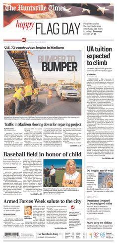 Nice use of typography on photos from this A1 package in The Huntsville Times. Negative leading and subtle use of color completes the effect.