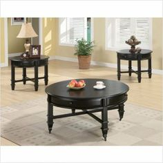 Bundle-59 Cronin Coffee Table Set (2 Pieces) by Wildon Home. $466.98. [***INCLUDED IN THIS SET: (1)Cronin Coffee Table, (1)Cronin Classic End Table] Features: -Traditional style.-Round top with molded edge.-Square legs with carved detail.-Storage drawers.-Coffee table with casters.-Simple black knob. Includes: -Set includes coffee table and end table. Color/Finish: -Black finish. Assembly Instructions: -Assembly required. Collection: -Cronin collection.