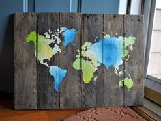 Blue and Green World Map Pallet Wood Sign on Etsy. #palletwood #worldmap