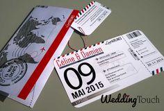Faire-part mariage style billet avion, thème du voyage ©weddingtouch