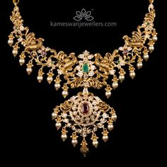 Traditional gold necklaces for women from the house of Kameswari. Shop for antique gold necklace, exquisite diamond necklace and more! 18k Gold Jewelry, Gold Jewellery Design, Pendant Jewelry, Bridal Jewelry, Diamond Jewelry, Jewelry Necklaces, Fancy Jewellery, Bead Jewellery, Latest Jewellery