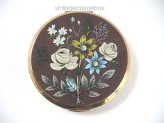 STRATTON powder compact, vintage goldtone metal, brown w/ blue yellow white flowers, traditional rustic English style, 1970s 70s vanity chic by VintageImageBox