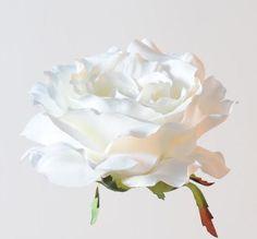 CLIP CHEVEUX ACCESSOIRE ROSE SAUVAGE 15cm satin fleur artificielle