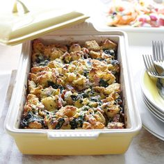 Breakfast Strata Lorraine - Inspired by the ingredients in a classic quiche Lorraine, this do-ahead breakfast dish is great when you're entertaining a crowd.