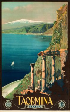 Italy.  Vintage travel poster for Taormina.  Issued by ENIT (Ente Nazionale Italiano per il Turismo).