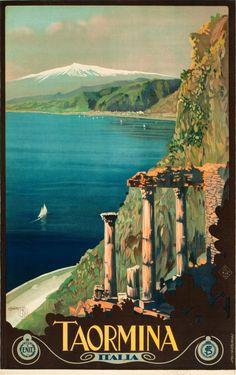 TAORIMA ITALY Vintage Travel Poster Fine Art Digital Print