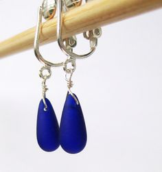 Cobalt Blue Clip-on Earrings Ultramarine Blue Frosted Glass