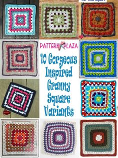 A gorgeous inspired granny square variants free crochet pattern round up.Ranging from beginner to intermediate - there is a block for every skill level. Knitting Designs, Crochet Designs, Crochet Ideas, Crochet Projects, Knitting Patterns, Crochet Patterns, Crochet Chart, Crochet Stitches, Crochet Hooks