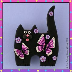 Standing Black Kitty Cat with Flowers & Pink Butterflies Pin