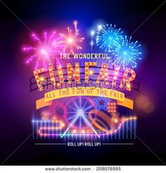 Vintage funfair and circus park and sign. Vector illustration. - stock vector