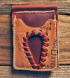 Upcycled Baseball Glove Leather Billfold No. 33 | Upcycled from a familiar material, this baseball glove leather... | Wallets & Money Clips