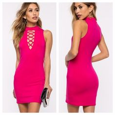 "*NEW* Lace up Bodycon Dress Super sexy! NEW WITH TAGS! Size: Small  Color: fuschia  95% polyester, 5% spandex Machine wash cold Model is in size S  Model is 5'8"", bust 32"" waist 24"", hips 34""  ""We're majorly lusting over this head-turning bodycon dress! It features a mock neck and a plunging cutout with lace-up detail. Lined. Finished short hem. Style with hoop earrings, a clutch, and barely there heels for a gotta-look hot vibe.""  Asking what I paid for it - Price is FIRM. a'gaci Dresses…"