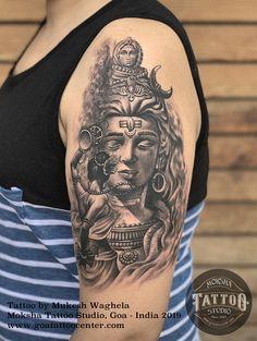 SHIVA TATTOO by Mukesh Waghela at Moksha Tattoo Studio Goa India. Owner of Moksha Tattoo Studio, book your appointment now. Bholenath Tattoo, Goa Tattoo, Wolf Tattoo Sleeve, Alien Tattoo, Lotus Tattoo, Sleeve Tattoos, Tribal Hand Tattoos, Geometric Tattoos, Arm Tattoos