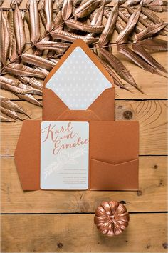 Bronze fall wedding invitation
