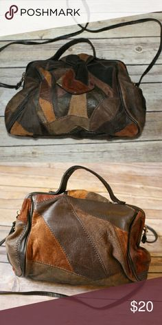 """VINTAGE Patchwork Suede and Leather bag Can take off strap. One zipper pocket. Snap buttons to open. Measurements  9"""" length  9"""" width  6.5"""" side 45"""" strap Bags Crossbody Bags"""