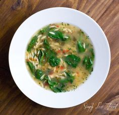 Lemon chicken soup with orzo and baby spinach | Simply Love Food