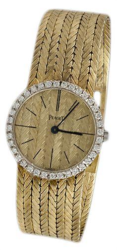 Piaget 18k yellow gold diamond bezel watch. #Piaget #Watch #Diamond #Luxury #Jewelry