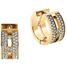 Michael Kors Glitz and Goldtone Huggie Earrings ($95) ❤ liked on Polyvore featuring jewelry, earrings, gold, gold tone earrings, gold tone jewelry, cut out earrings, michael kors and michael kors earrings