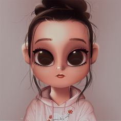 Cartoon, Portrait, Digital Art, Digital Drawing, Digital Painting, Character Design, Drawing, Big Eyes, Cute, Illustration, Art, Girl, kenzie, Ziegler, Bun, Sweater