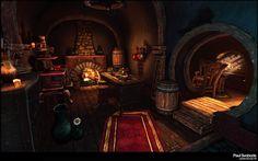 Hand Painted Study Picture big by Paulsvoboda Painting Hobbit house Hobbit house interior