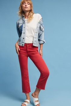 Pilcro Script High-Rise Cropped Flares (UNDER $100)