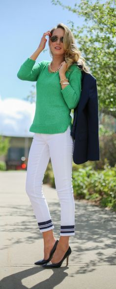 casual friday: white cropped jeans with navy printed stripes + kelly green sweater