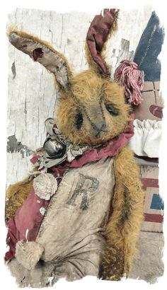 "Image of Heavily Aged & Worn- 13"" Mohair Carnival RABBIT Hare w/ clown romper* By Whendi's Bears"