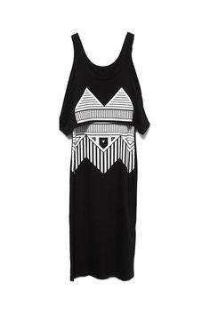 Twin-set Geometry Printing Black Dress