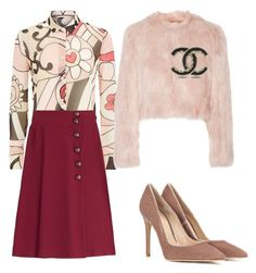 """""""70s"""" by kamiren ❤ liked on Polyvore featuring RED Valentino, Gianvito Rossi, Chanel, women's clothing, women's fashion, women, female, woman, misses and juniors"""
