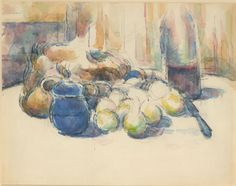 Paul Cézanne, Still Life with Pears and Apples, Covered Blue Jar, and a Bottle of Wine, (1906)