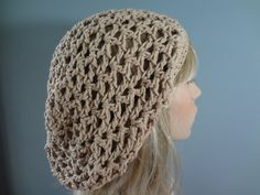 Tan Color Cotton Open Weave Slouch Tam Hat Snood by yarnnscents, $15.00