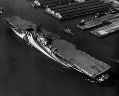 The U.S. Navy aircraft carrier USS Ticonderoga (CV-14) underway at Norfolk, Virgina (USA) on 30 May 1944, shortly after delivery to the Navy by Newport News Shipbuilding and Drydock Company. She is wearing camouflage Measure 33, Design 10A. Date 30th May 1944.