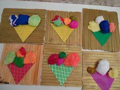 Com a massa de modelar podemos fazer várias coisas, acima tem um exemplo de sorvete com várias texturas e cores de massa.  #FICAADICA
